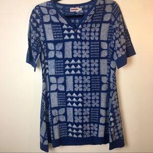 Tops - Blue eclectic African print shirt